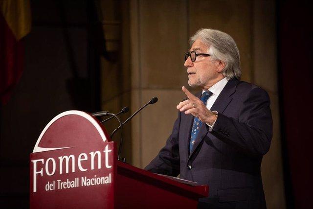 El presidente de Foment de Treball, Josep Sánchez Llibre, durante su intervención en la Asamblea General de la patronal catalana, en Barcelona/Catalunya a 13 de enero de 2020.