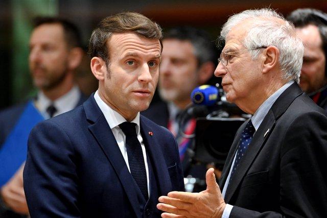 Macron y Borrell en la cumbre de la UE
