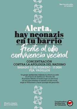 Cartel de la concentración convocada para este sábado en la plaza de los Vadillos, en Valladolid.