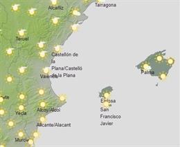 Predicción de Aemet para la Comunitat Valenciana del 22 de febrero de 2019