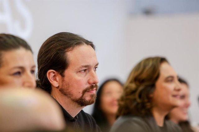 El vicepresidente segundo del Gobierno de España y ministro de Derechos Sociales y Agenda 2030, Pablo Iglesias, durante el encuentro confederal de Unidas Podemos celebrado en la Fundación Diario Madrid, a 22 de febrero de 2020.