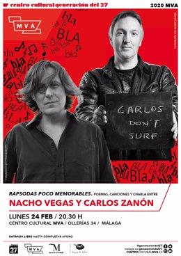 Cartel del encuentro con Nacho Vegas y Carlos Zanón.