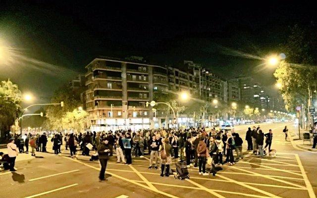 Corte de la avenida Meridiana de Barcelona el 29 de octubre de 2019