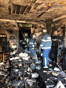 Estado de la vivienda de San Fernando tras el incendio
