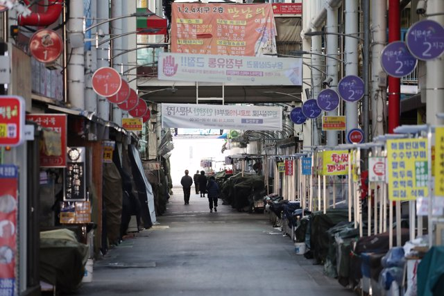 23 February 2020, South Korea, Daegu: A market is closed to prevent the spread of the coronavirus (COVID-19). Photo: Yonhap/dpa