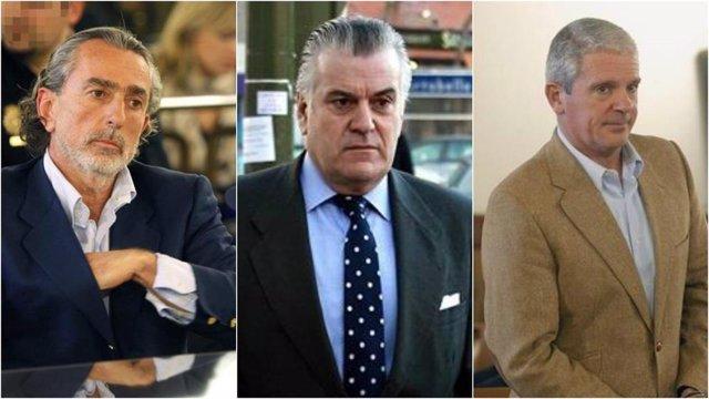 Francisco Correa, Luis Bárcenas y Pablo Crespo, tres de los 29 condenados por la primera época de la trama Gürtel