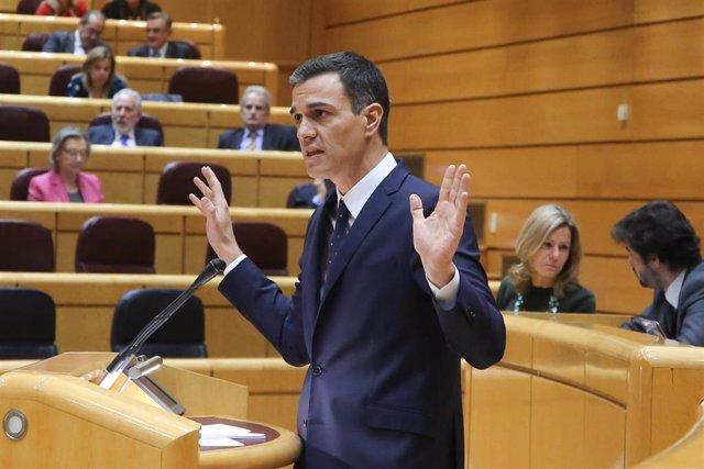 El presidente del Gobierno, Pedro Sánchez, durante el pleno en el Senado