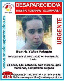 Cartel con la foto de la joven desaparecida.