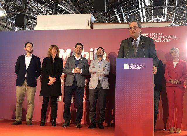 El presidente de la Generalitat, Quim Torra, en el discurso tras el Mobile Networking Lunch