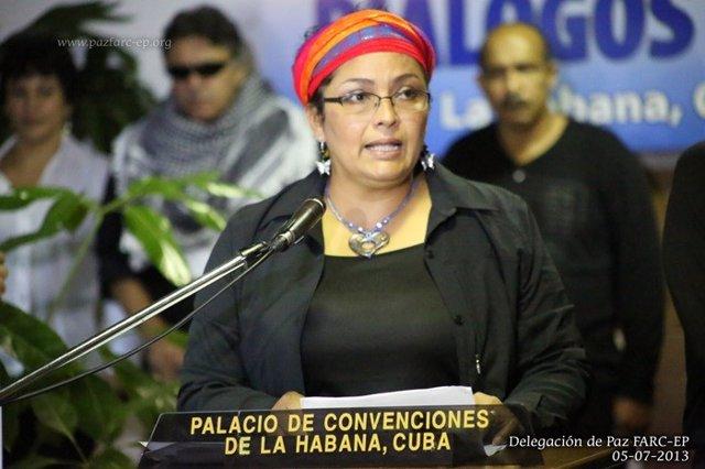 La senadora del FARC Victoria Sandino, en una foto de archivo de 2013 tomada en la Habana con motivo de los diálogos de paz llevados a cabo por el Gobierno de Colombia y la ya extinta guerrilla.