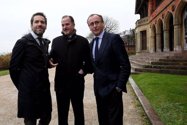(E-D) L'expresident del PP de Guipúscoa, Borja Sémper; l'eurodiputat amb el Partit Popular Europeu i expresident del PP basc, Carlos Iturgaiz; i el president del PP basc, Alfonso Alonso