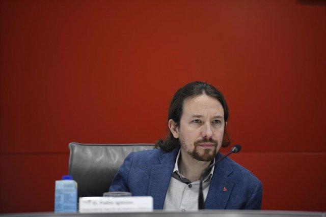 El vicepresidente segundo y ministro de Derechos Sociales y Agenda 2030, Pablo Iglesias durante la Asamblea General de la Plataforma del Tercer Sector.