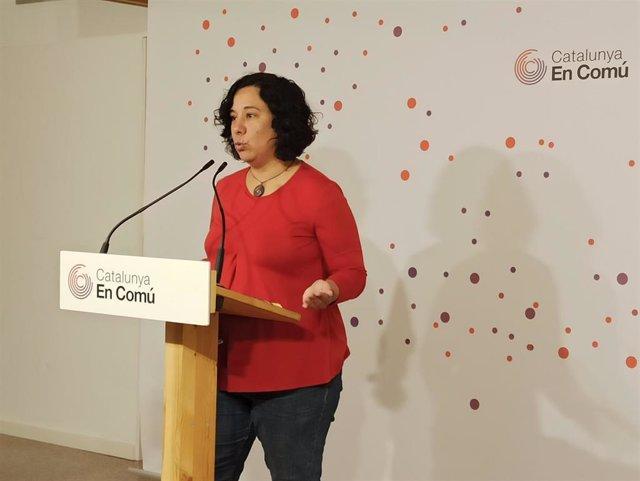 Susanna Segovia (comuns) en rueda de prensa.