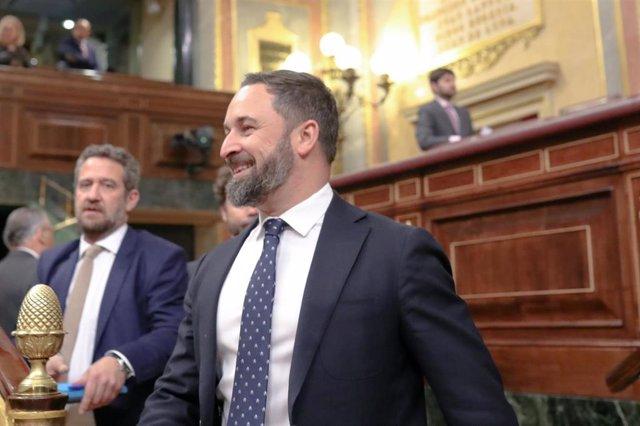 El presidente del Vox, Santiago Abscal, en el Congreso