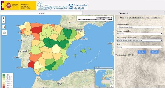 Atlas de Mortalidad debida a Enfermedades Raras en España'
