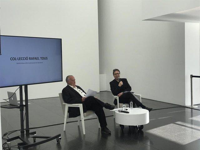 El col·leccionista Rafael Tous i el director del Macba Ferran Barenblit en roda de premsa, 24 de febrer del 2020.