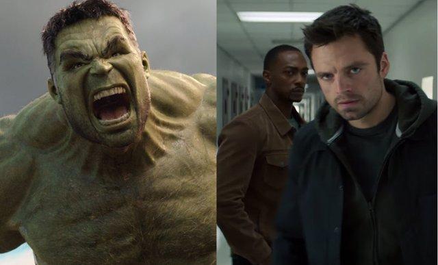 Hulk, Falcon y Bucky, personajes del Universo Marvel