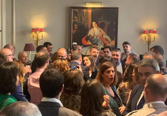 La candidata a la Presidencia de Ciudadanos Inés Arrimadas, en el encuentro con militantes y simpatizantes en un hotel de Valladolid.