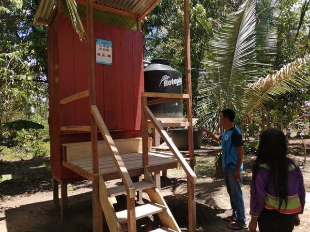 Una de las instalaciones de saneamiento construidas en la región de San Rafael en Perú.