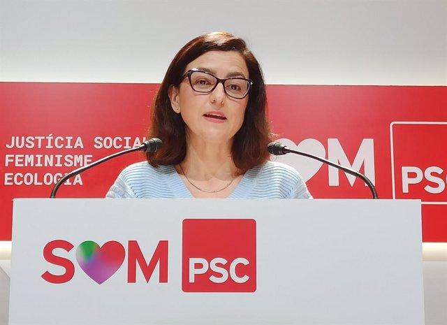 Eva Granados (PSC) en roda de premsa.