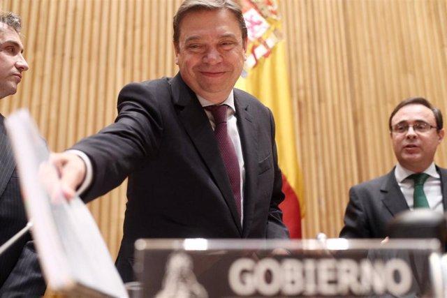 El ministro de Agricultura, Pesca y Alimentación, Luis Planas, momentos antes de su comparecencia en la Comisión de Agricultura