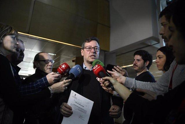 El portavoz del Partido Popular en la Asamblea de Madrid, Alfonso Serrano, en la Cámara regional