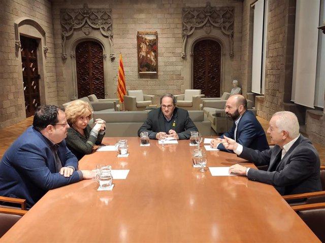 Reunión del presidente de la Generalitat, Quim Torra, con Joan Ignasi Elena, Magda Oranich, Marcel Mauri y Borja de Riquer