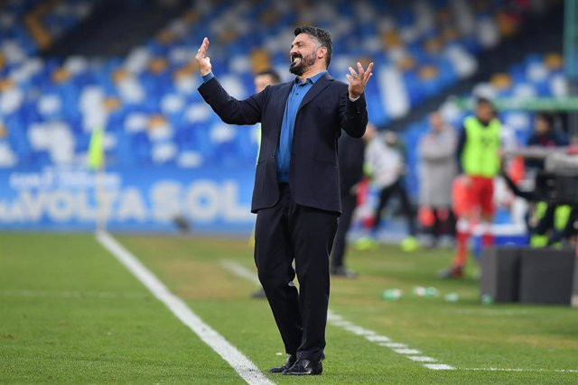 14 January 2020, Italy, Naples: Napoli coach Gennaro Gattuso reacts during the Italian Cup round of 16 soccer match between SSC Napoli and AC Perugia at the San Paolo Stadium. Photo: Cafaro/Lapresse/Lapresse via ZUMA Press/dpa