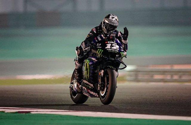 El piloto español Maverick Viñales (Yamaha) en el test de Catar de MotoGP