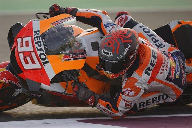 El piloto español de MotoGP Marc Márquez (Repsol Honda) en el test de Catar
