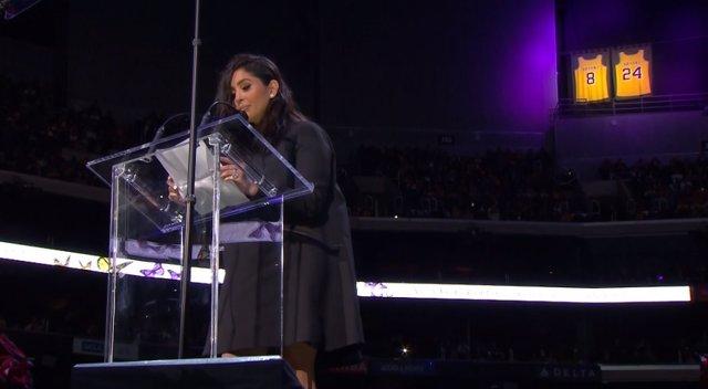 Vanessa Bryant durante el acto de recuerdo a Kobe y Gianna
