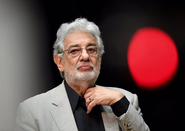 """FILED - 07 June 2018, Berlin: Opera singer Placido Domingo,speaks during a press conference on the performance """"State Opera for all""""."""