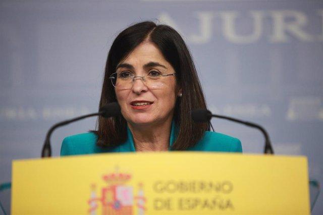La Ministra de Política Territorial y Función Pública, Carolina Darias, interviene en la reunión convocada con miembros del Gobierno vasco en Vitoria.