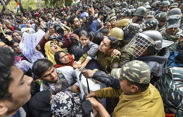 Imagen de archivo de anteriores protestas contra la ley de ciudadanía en febrero en Nueva Delhi