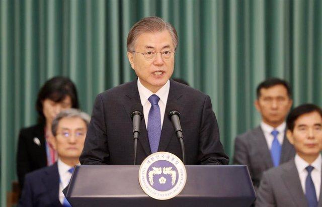 El presidente de Corea del Sur, Moon Jae In, en una rueda de prensa en Seúl