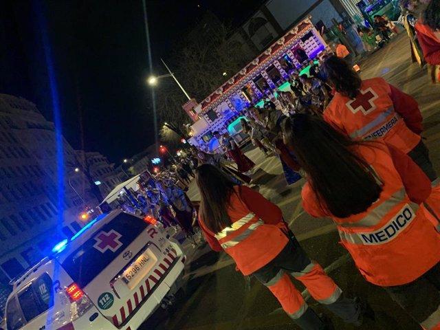 Dispositivo de Cruz Roja en el Carnaval de Badajoz 2020