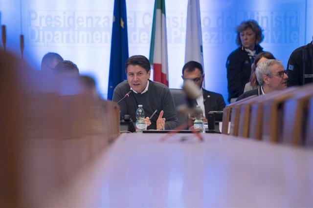 Giuseppe Conte en una reunió del Govern itali a Roma