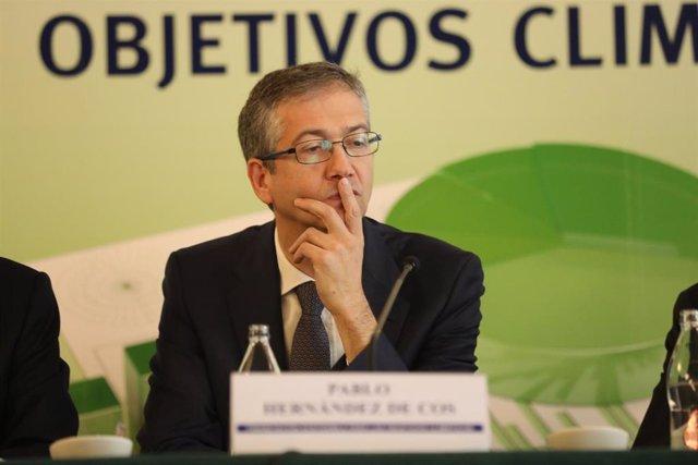 El gobernador del Banco de España, Pablo Hernández de Cos, durante la Jornada 'Financiación Sostenible para los Objetivos Climáticos', en Madrid, a 24 de febrero de 2020.