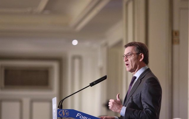 El presidente de la Xunta de Galicia, Alberto Núñez Feijoo, interviene en el Desayuno informativo de Nueva Economía Forum celebrado en Hotel Westin Palace, en Madrid, a 25 de febrero de 2020.