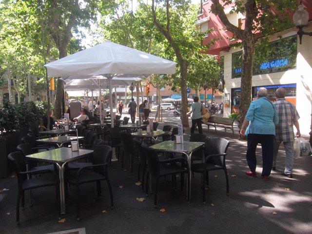 Terrasses a la Rambla del Poblenou de Barcelona