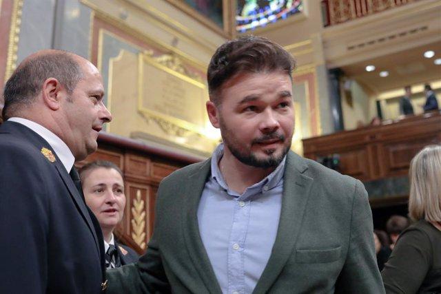 El portaveu d'ERC al Congrés, Gabriel Rufián, arriba al Congrés.