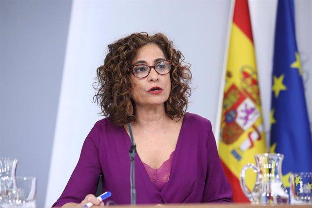 La ministra de Hacienda y portavoz del Gobierno, María Jesús Montero, comparece en rueda de prensa tras la reunión del Consejo de Ministros.