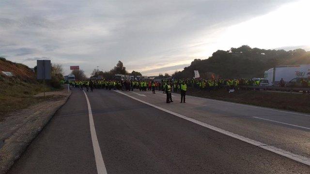 Economía.- Cortada la A-4 entre Santa Elena y La Carolina (Jaén) por olivareros que reclaman soluciones para el sector