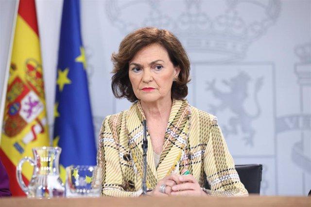 La vicepresidenta primera del Gobierno, ministra de la Presidencia, Relaciones con las Cortes y Memoria Democrática, Carmen Calvo,