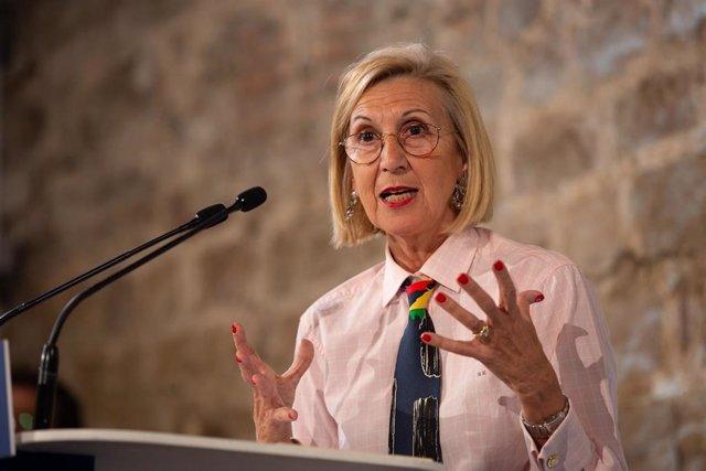 La fundadora de UPyD, Rosa Díez durante su intervención en el acto de campaña del Partido Popular en el Museo de Historia de Barcelona (España), a 6 de noviembre de 2019.