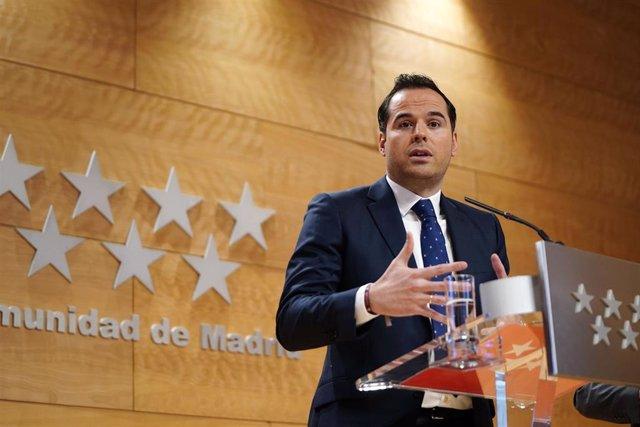 El vicepresidente regional, Ignacio Aguado, en rueda de prensa tras la reunión del Consejo de Gobierno.