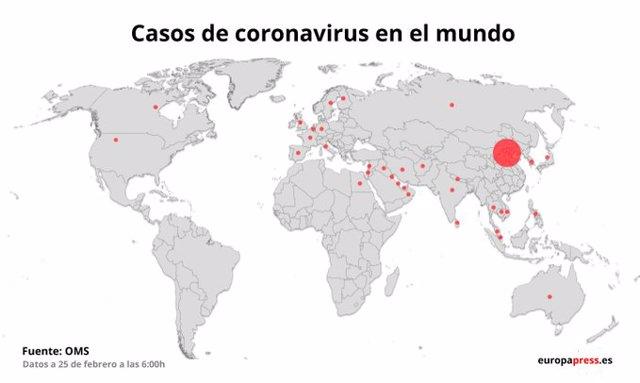 Casos de coronavirus en todo el mundo, actualizado a 25 de febrero