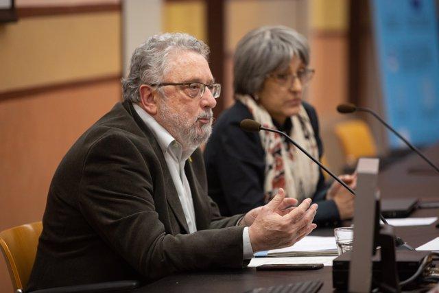 El secretario de Salud Pública de la Generalitat, Joan Guix, en la rueda de prensa sobre el primer caso de coronavirus en Catalunya
