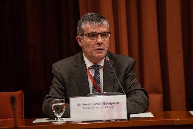 El director del Museu de Lleida, Josep Giralt, durant la seva intervenció en la comissió d'investigació sobre l'aplicació de l'article 155 de la Constitució a Catalunya, al Parlament, Barcelona (Espanya), 25 de febrer del 2020.