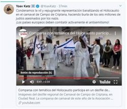 EMBAJADA ISRAELI DENUNCIA LA REPUGNANTE BANALIZACION DEL HOLOCAUSTO EN CAMPO DE CRIPTANA